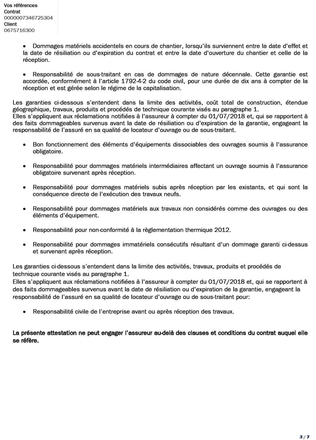 Attestation decennale DCLS du 01-07-2018 au 01-07 sans decote