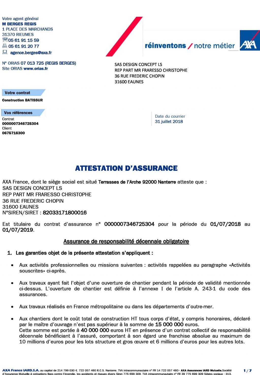 Attestation decennale DCLS du 01-07-2018 au 01-07