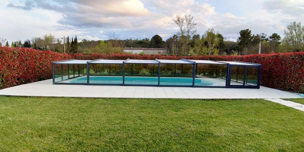 Abri en verre télescopique mi-haut structure aluminium Avril 2019
