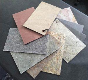 nuancier de feuilles de pierre flexi pierre utilisées dans les terrasses mobiles DCLS