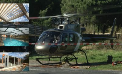 Installation d'un Abri verre haut pour piscine par hélicoptère