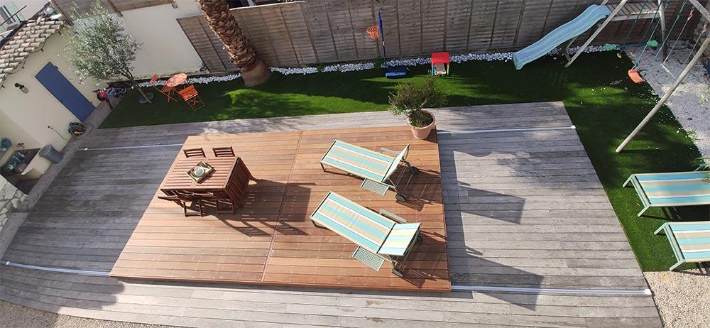 terrasse mobile double pour piscine par DCLS, nice