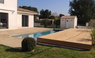 Terrasse coulissante pour piscine format XL