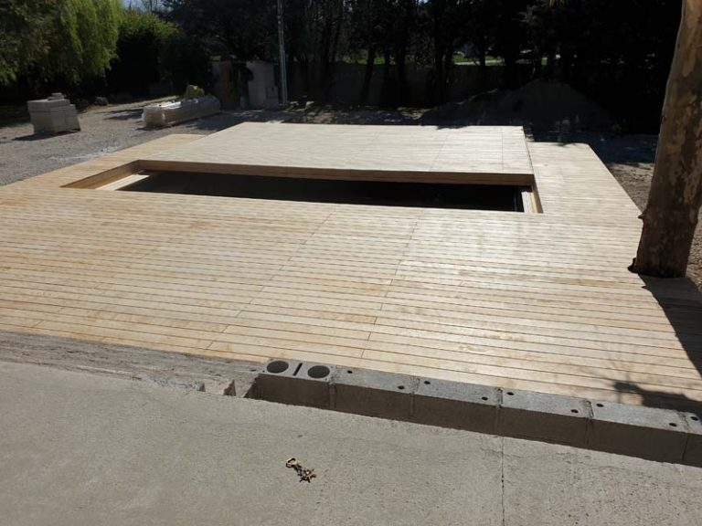 terrasse mobile à Tarascon (Bouches du Rhône), le projet et les étapes du chantier