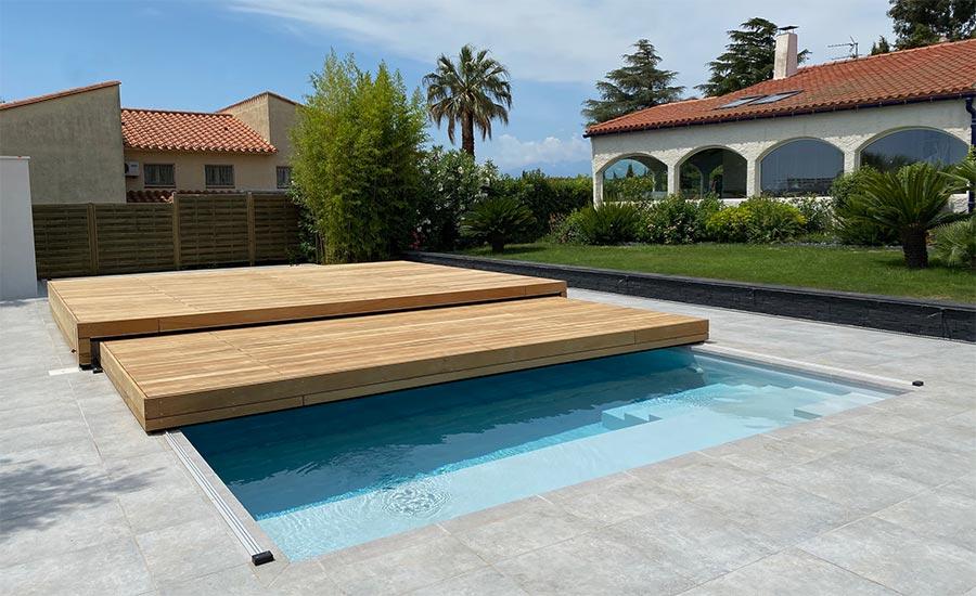 terrasse mobile en tiroir pour piscine par Design Concept LS